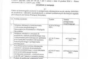 zarządzenie w sprawie harmonogramu czynności w postępowaniu rekrutacyjnym  na rok szkolny 2020/2021 - 1.jpg