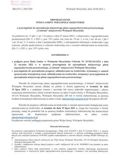 Obwieszczenie Wójta Gminy Wielopole Skrzyńskie o przystąpieniu do sporządzenia miejscowego planu zagospodarowania przestrzennego w centrum miejscowości Wielopole Skrzyńskie