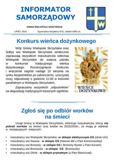 Informator Samorządowy - lipiec 2015