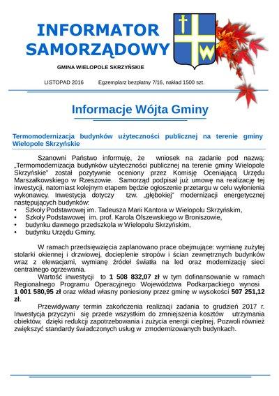 Informator Samorządowy - listopad 2016