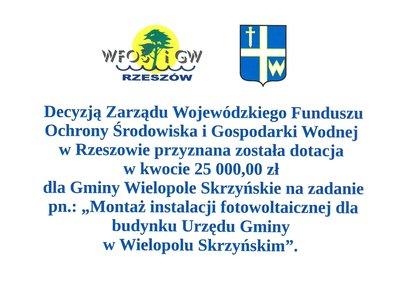 Dofinansowanie dla Gminy Wielopole Skrzyńskie