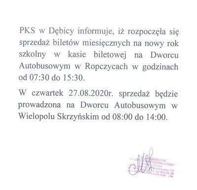 Informacja PKS w Dębicy o sprzedaży biletów miesięcznych
