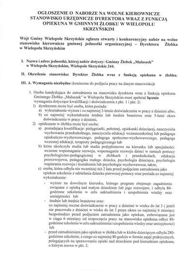"""Nabór na stanowisko Dyrektora wraz z funkcją opiekuna w gminnym żłobku """"Maluszek"""" w Wielopolu Skrzyńskim"""