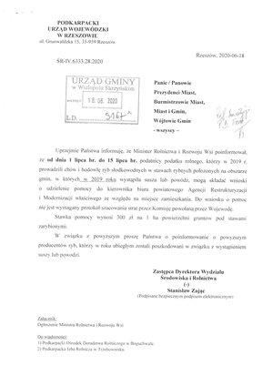 Ogłoszenie Ministra Rolnictwa i Rozwoju Wsi