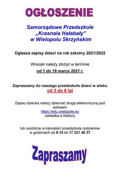 """Samorządowe Przedszkole  """"Krasnala Hałabały""""  w Wielopolu Skrzyńskim ogłasza zapisy dzieci na rok szkolny 2021/2022"""