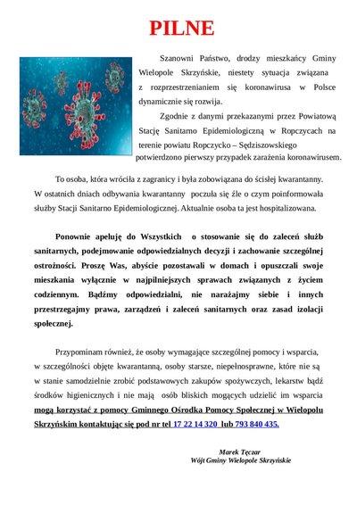 Pierwszy przypadek  zarażenia koronawirusem w powiecie Ropczycko - Sędziszowskim