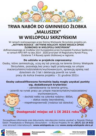 """Nabór do Gminnego Żłobka """"Maluszek"""" w Wielopolu Skrzyńskim"""