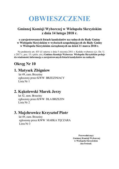 Obwieszczenie Gminnej Komisji Wyborczej w Wielopolu Skrzyńskim z dnia 14 lutego 2018 r.