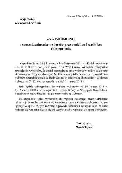 Zawiadomienie Wójta Gminy Wielopole Skrzyńskie z dnia 19 lutego 2018 r.