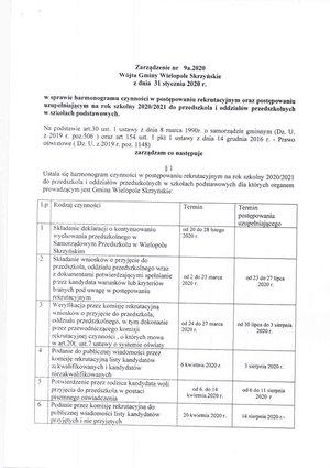 Zarządzenie nr 9a.2020 Wójta Gminy Wielopole Skrzyńskie z dni 31 stycznia 2020 r.