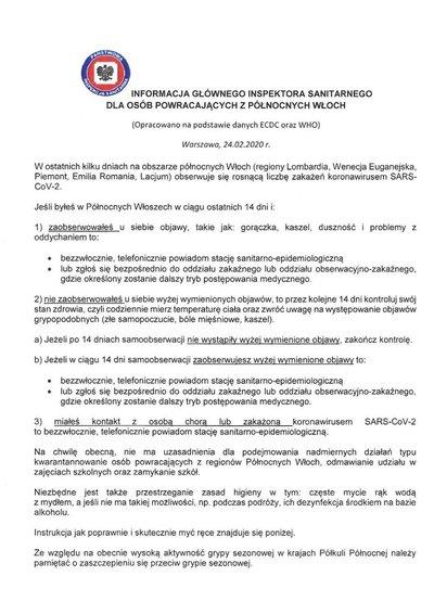 Informacja Głównego Inspektora Sanitarnego dla osób powracających z Północnych Włoch