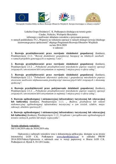 Lokalna grupa Działania C.K Podkarpacie - informacja o terminach  naborów wniosków
