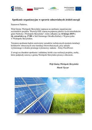 Spotkanie organizacyjne dla mieszkańców Gminy Wielopole Skrzyńskie  w sprawie Odnawialnych Żródeł Energii