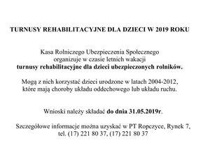 Turnusy  rehabilitacyjne dla dzieci w 2019 roku