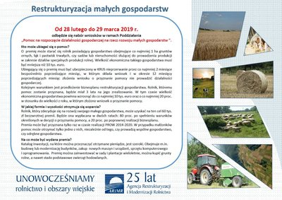 """Nabór  wniosków w ramach działania """"Restrukturyzacja małych gospodarstw"""" finansowanego z Programu Rozwoju Obszarów Wiejskich na lata 2014 - 2020"""