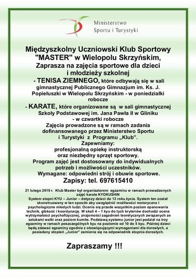 Zajęcia sportowe dla dzieci i młodzieży szkolnej