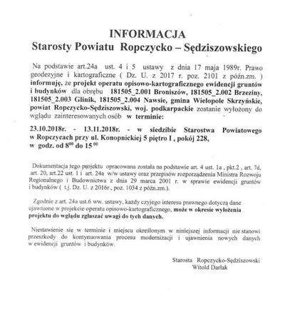 Informacja dla mieszkańców Gminy Wielopole Skrzyńskie dot. projektu operatu opisowo - kartograficznego ewidencji gruntów i budynków