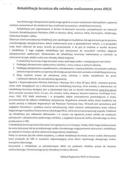 Rehabilitacja  lecznicz dla rolników realizowana przez KRUS - informacja
