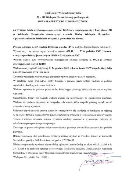 Przetarg nieograniczony na wynajem lokalu użytkowego znajdującego się w budynku  nr 244 w Wielopolu Skrzyńskim stanowiącym własność Gminy Wielopole Skrzyńskie z przeznaczeniem na działalność związaną z prowadzeniem siłowni
