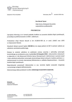 Promesa na przebudowę drogi gminnej Nawsie - Rzeczki
