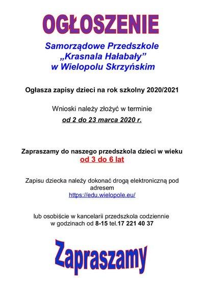 Zapisy dzieci do Samorządowego Przedszkola Krasnala Hałabały w Wielopolu Skrzyńskim na rok szkolny 2020/2021