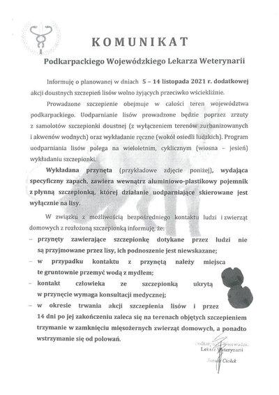Komunikat dotyczący dodatkowej akcji doustnych szczepień lisów przeciwko wściekliźnie