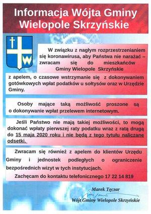 Informacja Wójta Gminy Wielopole Skrzyńskie