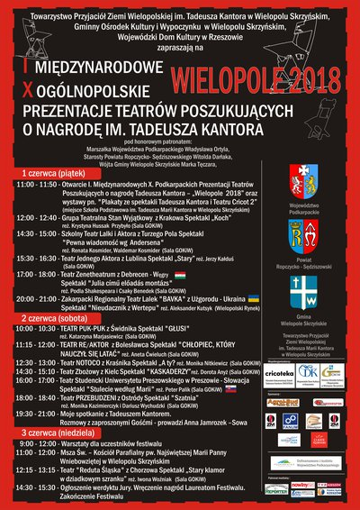 I Międzynarodowe, X Ogólnopolskie Prezentacje Teatrów Poszukujących o nagrodę im. Tadeusza Kantora - Program wydarzeń