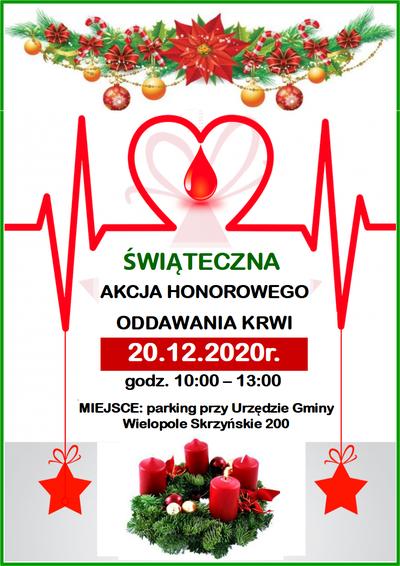 Akcja Honorowego Oddawania Krwi - 20 grudnia 2020 r.