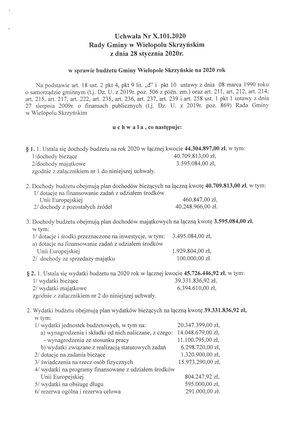 Budżet Gminy Wielopole Skrzyńskie na 2020 rok uchwalony