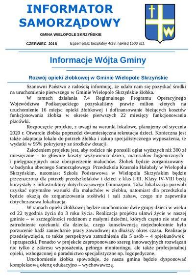 INFORMATOR SAMORZĄDOWY - CZERWIEC 2018