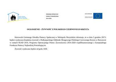Żywność z Podkarpackiego Oddziału Okręgowego Polskiego Czerwonego Krzyża