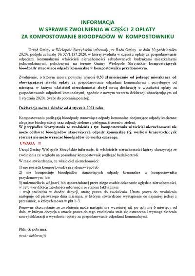 Informacja w sprawie zwolnienia w części z opłaty za kompostowanie bioodpadów w kompostowniku