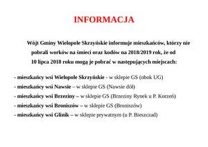 Informacja dla mieszkańców, którzy nie pobrali worków na śmieci oraz kodów na 2018/2019 rok