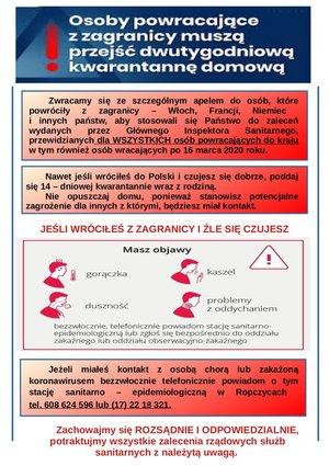 Informacja dla osób powracającyh z zagranicy