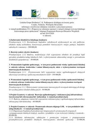 Lokalna Grupa Działania C. K. Podkarpacie informuje o możliwości składania wniosków o przyznanie pomocy.