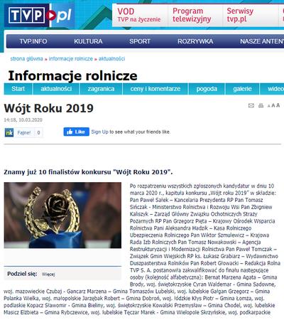 """WÓJT GMINY WIELOPOLE SKRZYŃSKIE PAN MAREK TĘCZAR W FINALE OGÓLNOPOLSKIEGO KONKURSU NA """"WÓJTA ROKU 2019"""""""