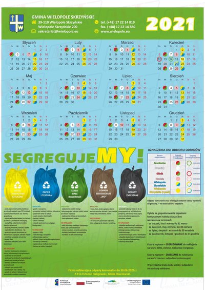Kalendarz odbioru odpadów w Gminie Wielopole Skrzyńskie