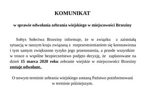 KOMUNIKAT w sprawie odwołania zebrania wiejskiego w miejscowości Brzeziny