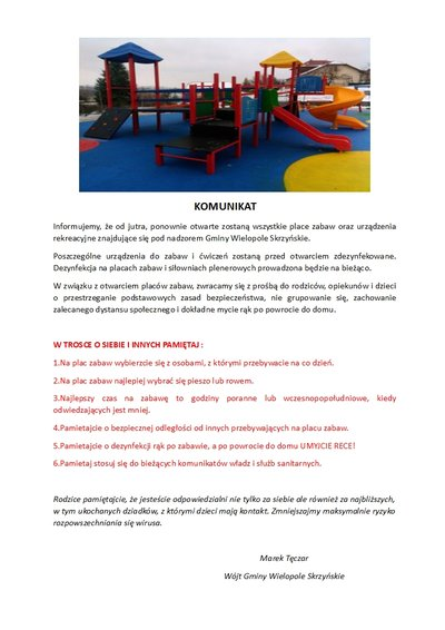 Komunikat o ponownym otwarciu placów zabaw
