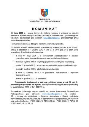 Komunikat Marszałka Województwa Podkarpackiego skierowany do przedsiębiorców