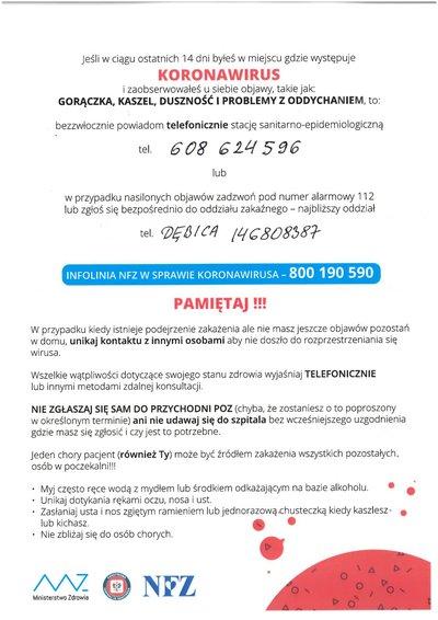 Instrukcja postępowania w przypadku podejrzenia zakażenia koronawirusem