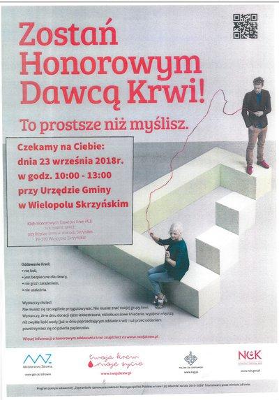 Zapraszamy 23 września 2018 roku do Wielopola Skrzyńskiego na akcję Honorowego Oddawania Krwi