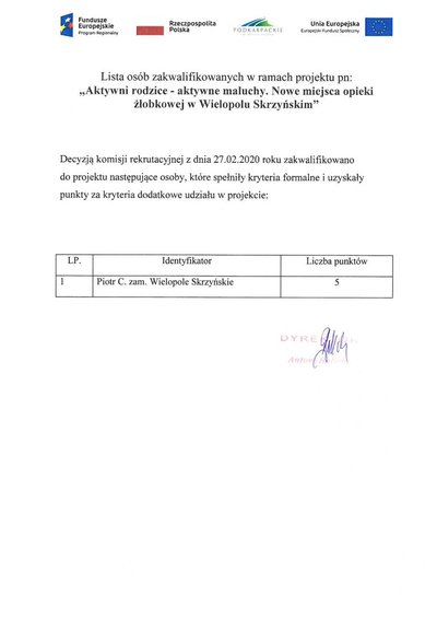"""Lista osób zakwalifikowanych w ramach projektu pn: """"Aktywni rodzice - aktywne maluchy. Nowe miejsca opieki żłobkowej w Wielopolu Skrzyńskim"""