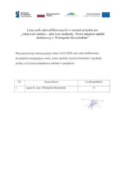 """lista osób zakwalifikowanych w ramach projektu pn: """"Aktywni rodzice - aktywne maluchy. Nowe miejsca opieki żłobkowej w Wielopolu Skrzyńskim"""""""