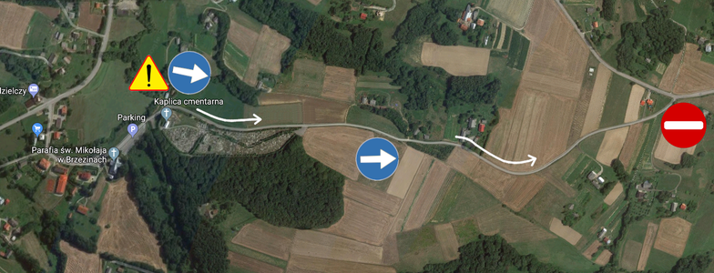 Czasowa zmiana organizacji ruchu na drodze gminnej 107742 R Brzeziny – Łęg