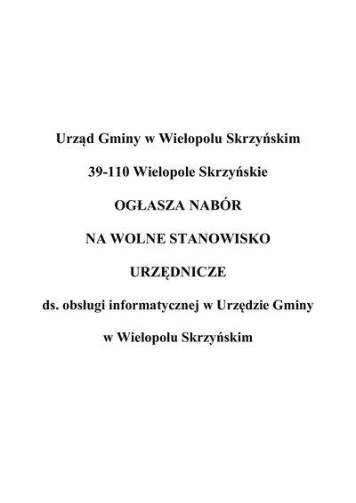 Nabór na wolne stanowisko urzędnicze ds. obsługi informatycznej w Urzędzie Gminy w Wielopolu Skrzyńskim