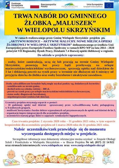 """Trwa nabór do Gminnego Żłobka """"Maluszek"""" w Wielopolu Skrzyńskim"""