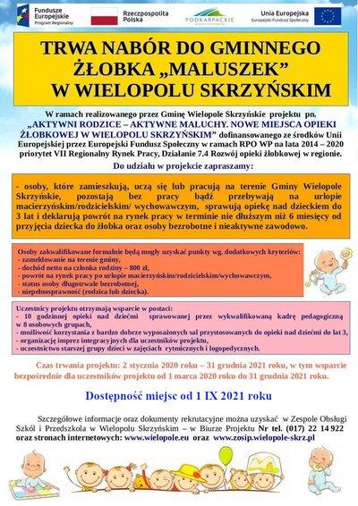 Aktywni Rodzice - Aktywne Maluchy. Nowe Miejsca Opieki Żłobkowej w Wielopolu Skrzyńskim