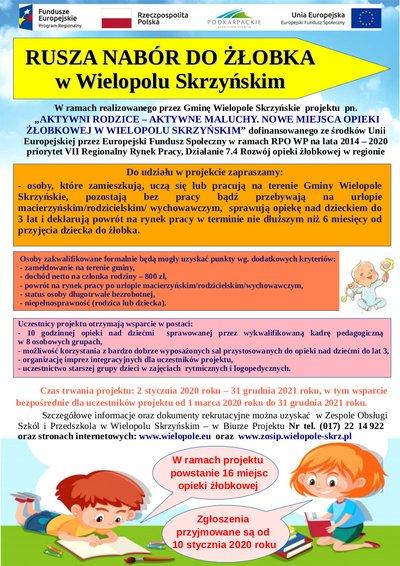 Ogłoszenie o naborze dzieci do żłobka w Wielopolu Skrzyńskim